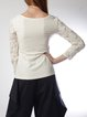 Elegant Appliqued Long Sleeve V Neck Plus Size Blouse