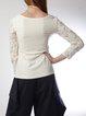 Elegant Appliqued Long Sleeve V Neck Plus Size Blouse