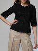 Black Pleated Elegant Plus Size Blouse