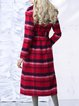 Red Checkered/Plaid Long Sleeve Coat