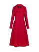 Red Solid Buttoned A-line Elegant Coat