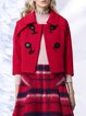 Red Wool Blend Buttoned Casual Cropped Jacket