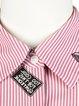 Pink Stripes Shirt Collar Half Sleeve Buttoned Blouse
