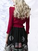 Red Knitted Casual Ribbed Cropped Top