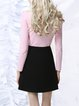 Black Casual A-line Color-block Mini Skirt