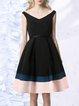 Black A-line Elegant V Neck Color-block Midi Dress