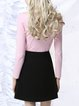 Pink Sheath Casual Knitted Long Sleeved Top