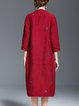 Burgundy Casual H-line Embroidered Coat