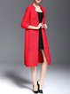 Red Embroidered Animal Print V Neck Casual Coat
