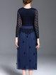 Navy Blue Appliqued Floral Elegant V Neck Midi Dress