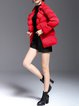 Red Cocoon Casual Folds Solid Pleated Coat
