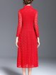 3/4 Sleeve Stand Collar Floral Crocheted Lace Midi Dress