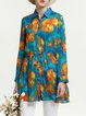 Silk Long Sleeve Shirt Collar Floral Print Vintage Silk Tunic