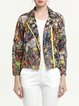 Multicolor Lapel Vintage Printed Cropped Jacket