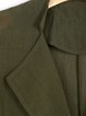 Dark Green Lapel Plain Pockets Casual Coat