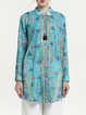 H-line Casual Long Sleeve Printed Ramie-blend Tunic