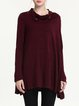 Burgundy Asymmetric Plain Turtleneck Long Sleeve Tunic