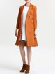 Orange Floral-embroidered Casual Shift Coat