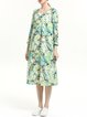 Long Sleeve Linen Vintage Abstract Printed Midi Dress