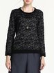 Black Plain Jacquard Crew Neck Long Sleeved Top