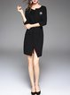 Sheath Cotton-blend Elegant 3/4 Sleeve Slit Mini Dress