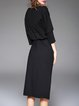 Zipper Casual Sheath 3/4 Sleeve Cotton-blend Midi Dress