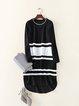 Black Color-block Stripes Casual Midi Dress