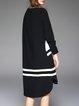 Black Color-block Stripes Casual Midi Dress