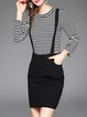 Black Two Piece Stripes Knitted Top With Casual Mini Dress