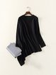 Black Asymmetrical Batwing Plain Long Sleeved Top