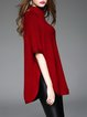 Wine Red Buttoned Wool Blend Plain Half Sleeve Sweater