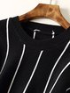 Casual Crew Neck Long Sleeve Stripes Sweater