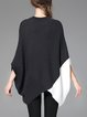 Batwing Crew Neck Color-block Casual Sweater