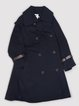 Dark blue Pockets Buttoned  Long Sleeve Trench Coat