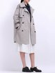 Gray Cotton Buttoned Long Sleeve Trench Coat