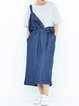 Blue Pockets Simple Overall Midi Dress with Belt