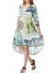 Blue Printed Half Sleeve Tribal Midi Dress