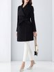 A-line Simple Long Sleeve Pockets Cashmere Wool Coat