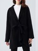 Long Sleeve Lapel Simple Wool Plain Coat