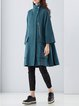Long Sleeve Simple Plain Wool Pockets Zipper Coat