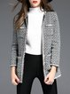 Gray Crew Neck Long Sleeve Pockets Wool Blend Coat