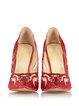 Red Spring/Fall Rhinestone Satin Stiletto Heel Heels