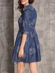 Blue Half Sleeve A-line Embroidered Denim Mini Dress