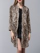 Long Sleeve Leopard Print Polyester Pockets Simple Coat