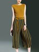 Yellow Two Piece Stripes Ribbed Crew Neck Sleeveless Jumpsuit
