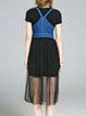 Short Sleeve Two Piece Paneled Denim Midi Dress