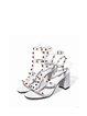 White Summer Dress Rivet Chunky Heel Sandals