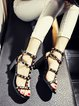 Black Chunky Heel Summer Leather Rivet Sandals