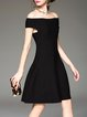 Black Knitted Evening Off Shoulder Evening Dress