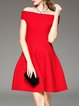 Red Off Shoulder Short Sleeve A-line Mini Dress